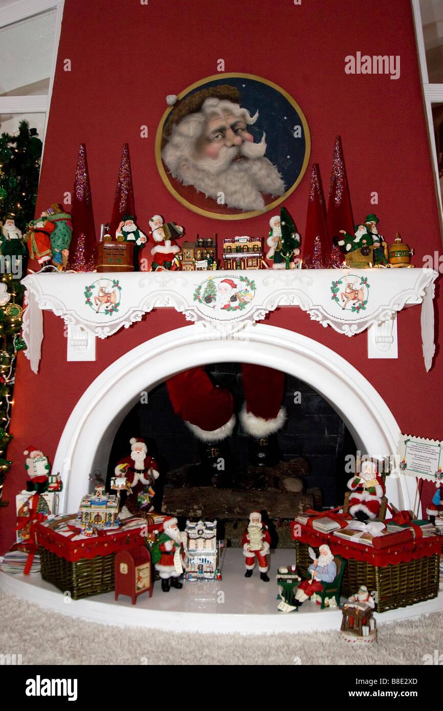 Chimney Christmas Decorations fireplace christmas santa claus chimney stock photos & fireplace