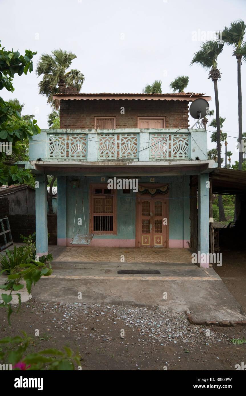 Indian house in Hazira village. Hazira, near Surat, Gujarat. India.
