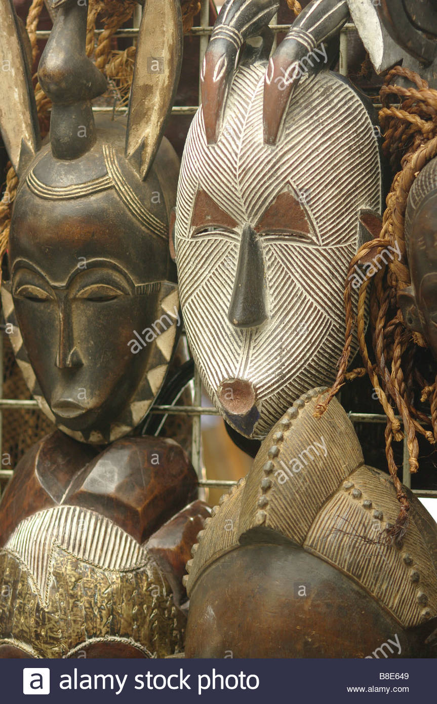 traditional wooden african masks mask imported for sale in a tourist stock photo royalty free. Black Bedroom Furniture Sets. Home Design Ideas