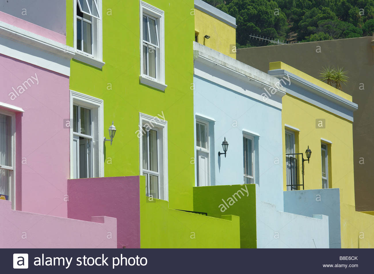 Bo Kaap Area Of Cape Town Multi Coloured Colored Houses