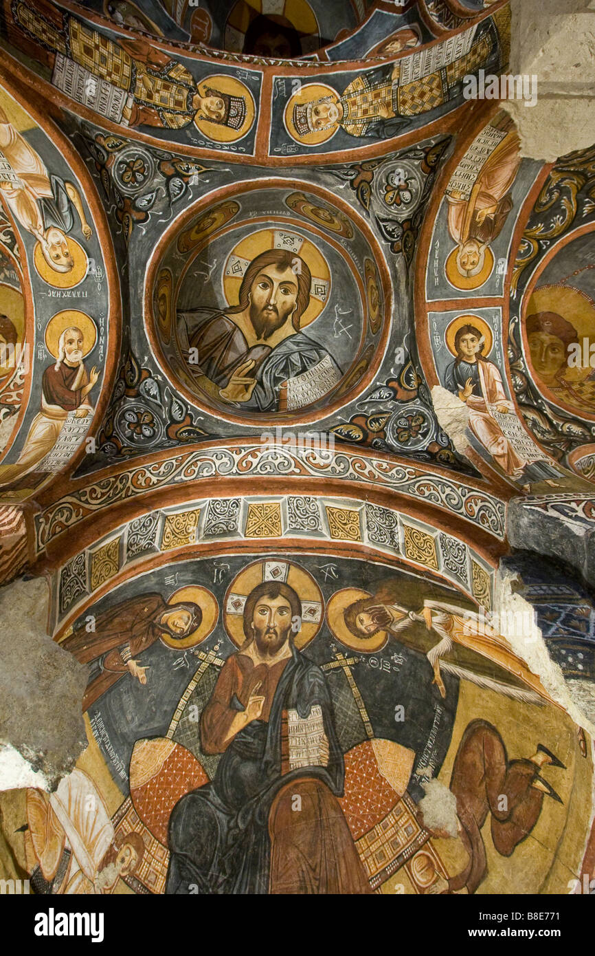 Christian murals inside karanlik kilise cave church at the for Christian mural