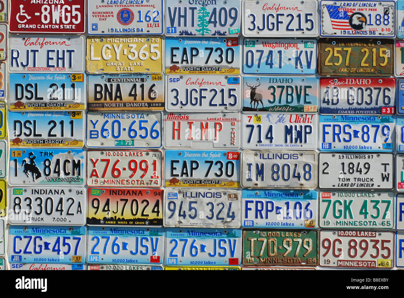 Wall of vintage license plates Stock Photo, Royalty Free Image ...