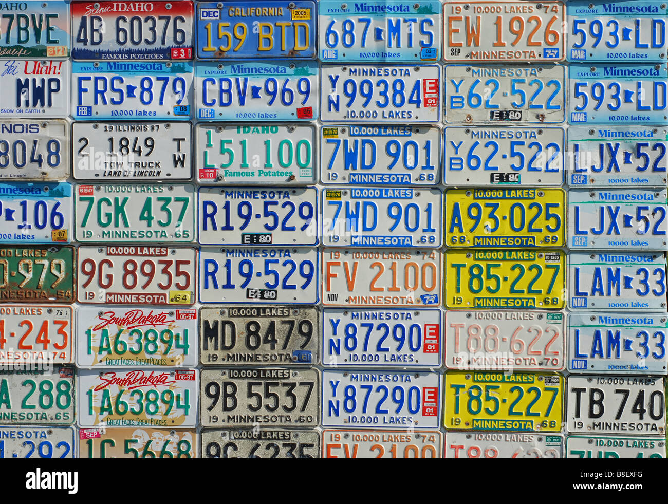 Horizontal display of vintage license plates Stock Photo, Royalty ...