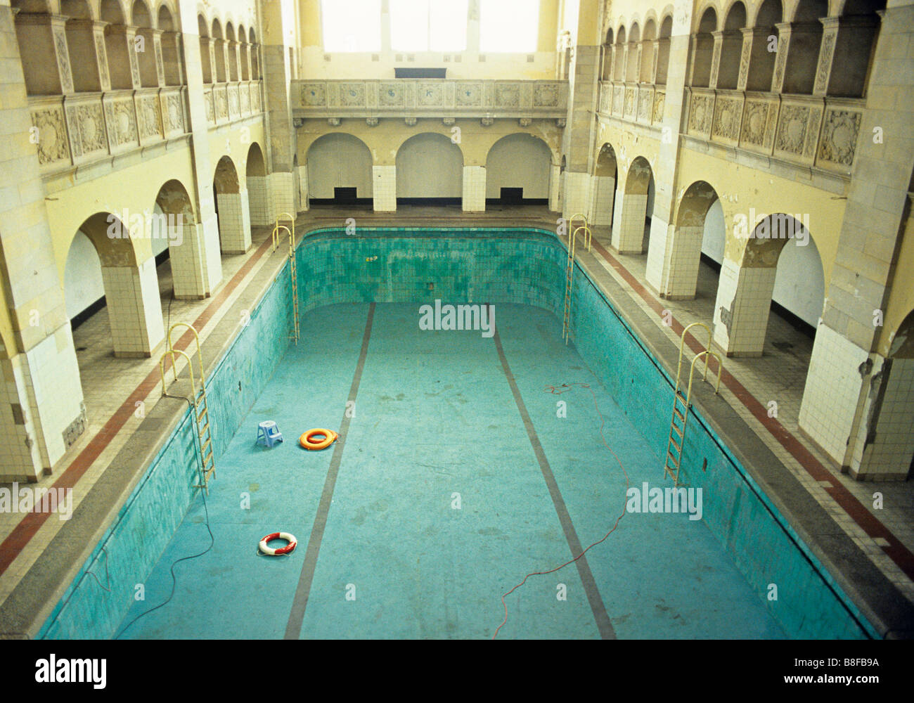 View Into An Old Empty Indoor Swimming Pool Stock Photo