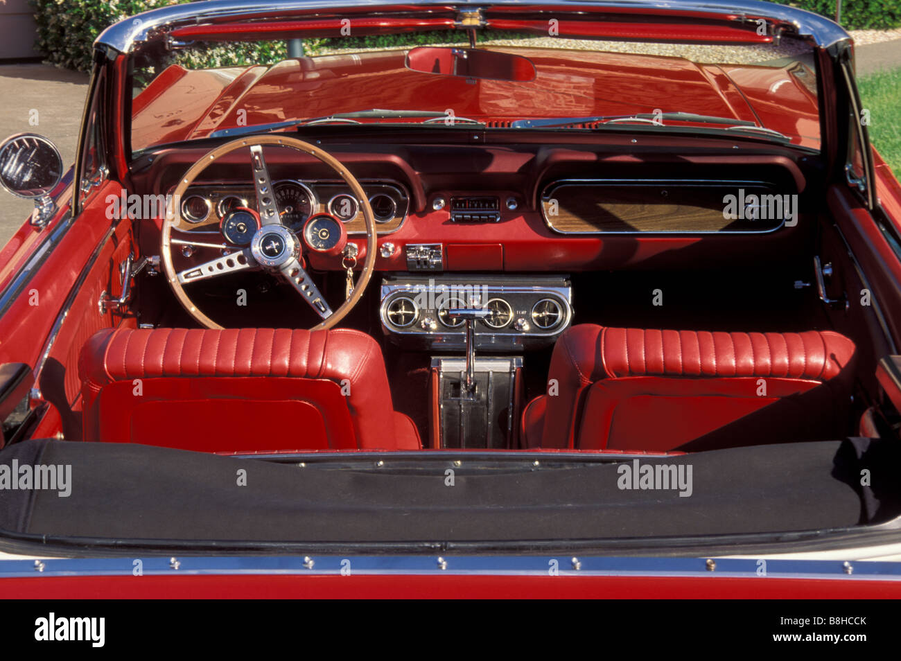 Classic 1966 Ford Mustang Convertible Red Leather Interior Stock Photo Royalty Free Image