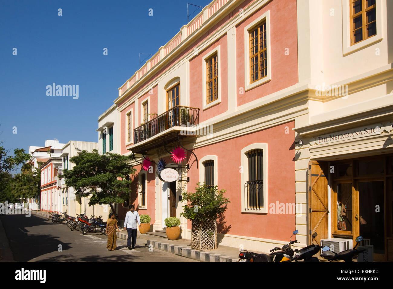 India Pondicherry Romain Rolland Street Hotel De L Orient Newly Stock Photo