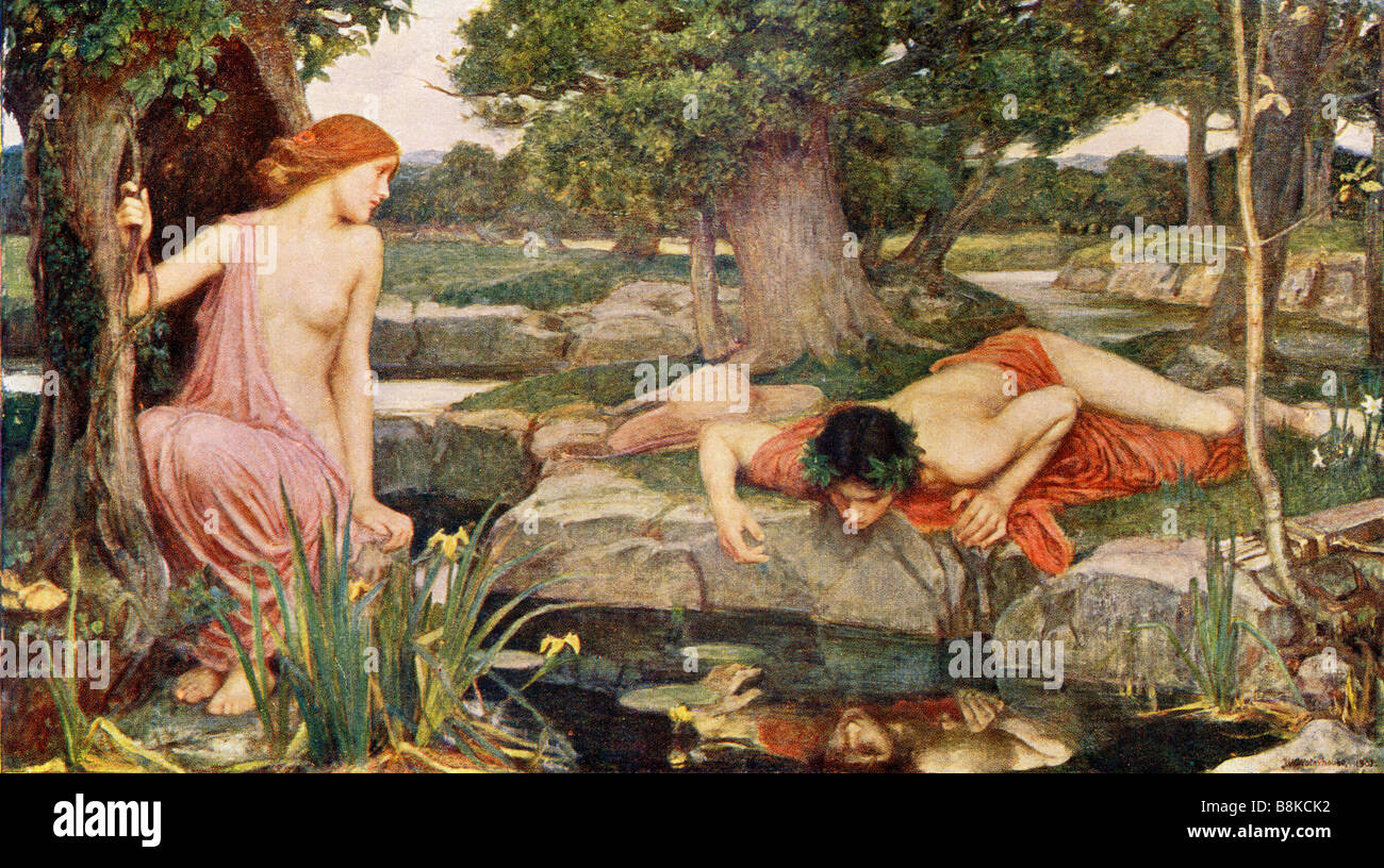 echo and narcissus after the painting by j w waterhouse stock echo and narcissus after the painting by j w waterhouse