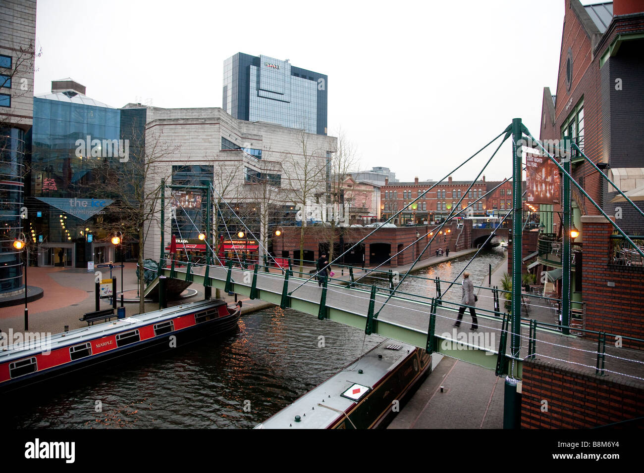 The Icc And Canal At Brindley Place Birmingham Uk At Dusk Stock Photo 22572120 Alamy