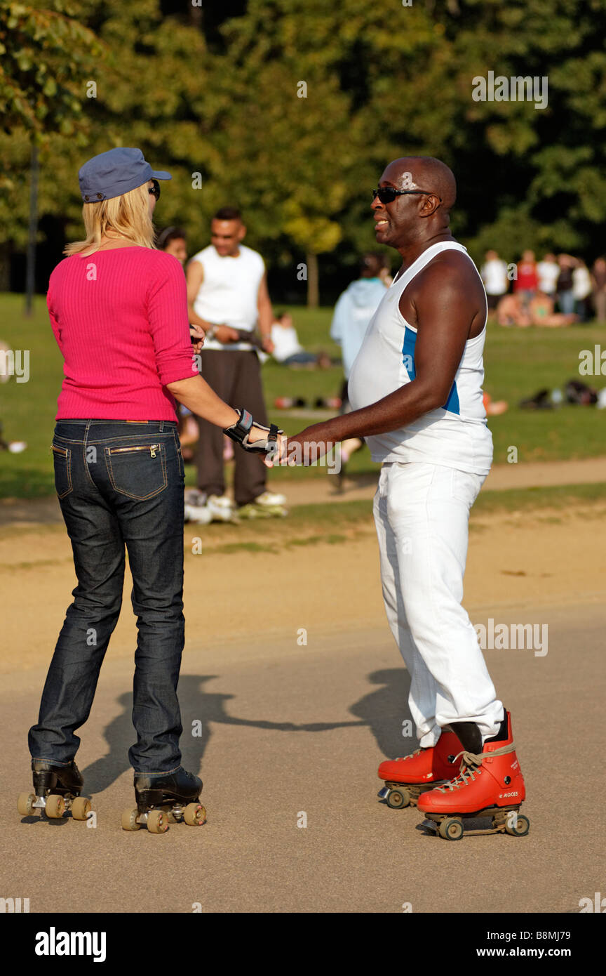 Roller skates dance - A Black Man And White Blond Woman Dancing On Roller Skates In Hyde Park