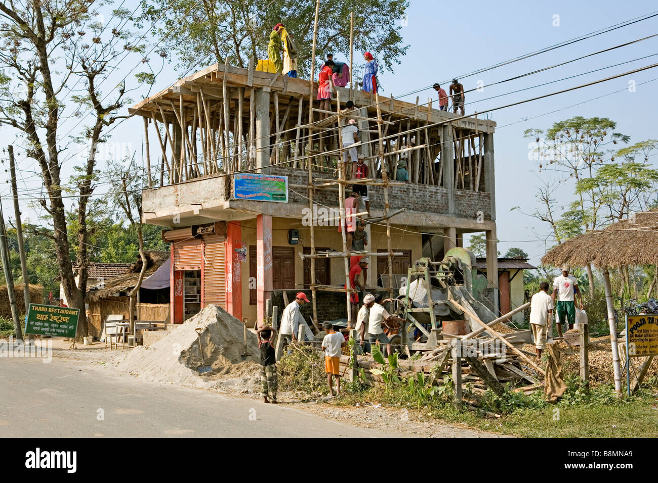 Building a house in sauraha village royal chitwan national park nepal