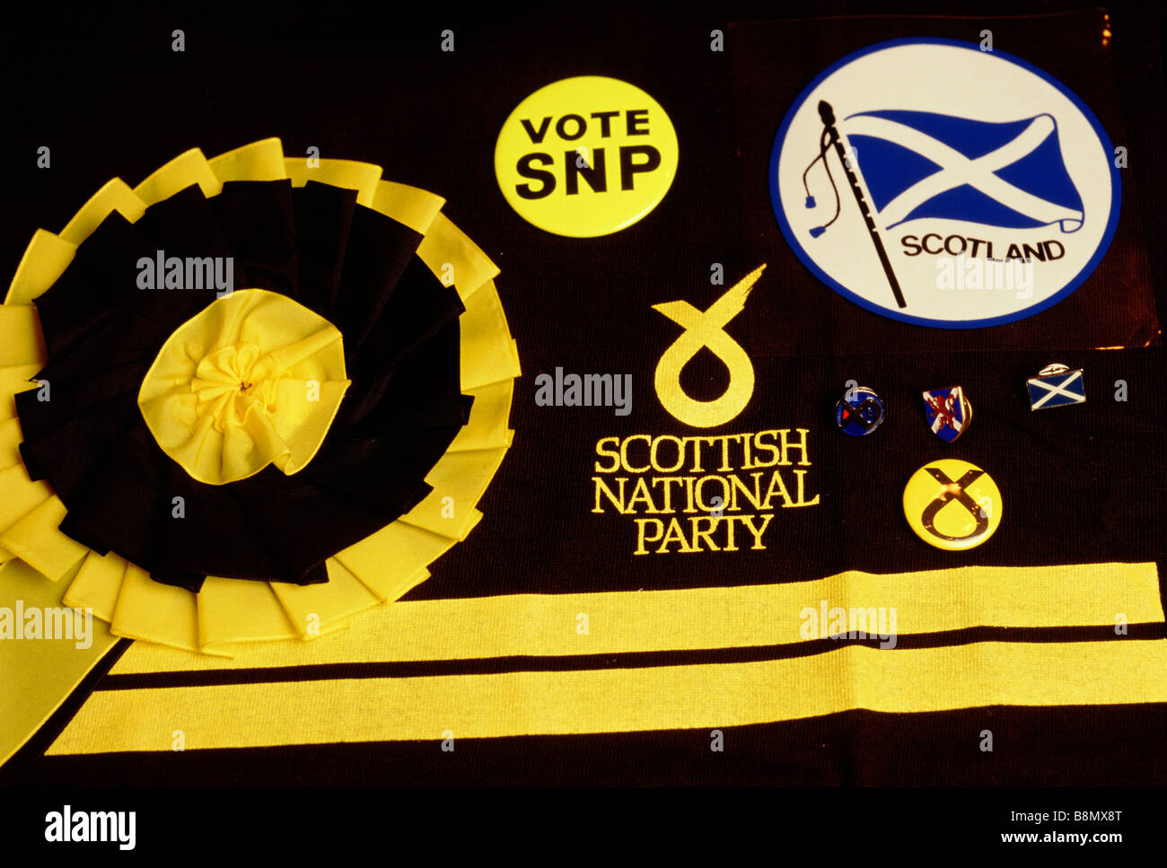 scottish national party snp badges and memorabilia stock photo