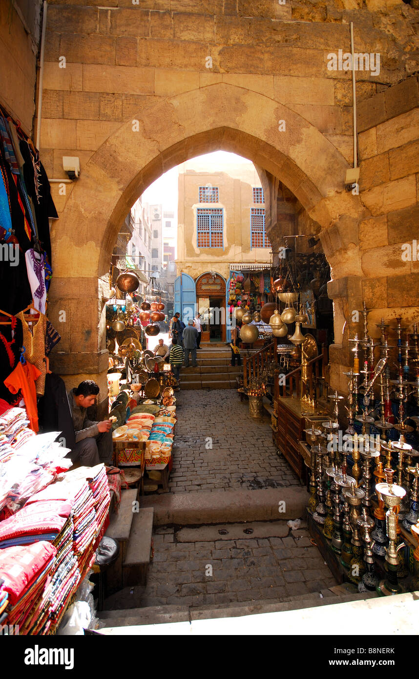 Cairo egypt a street in the khan el khalili bazaar in for Shopping in cairo
