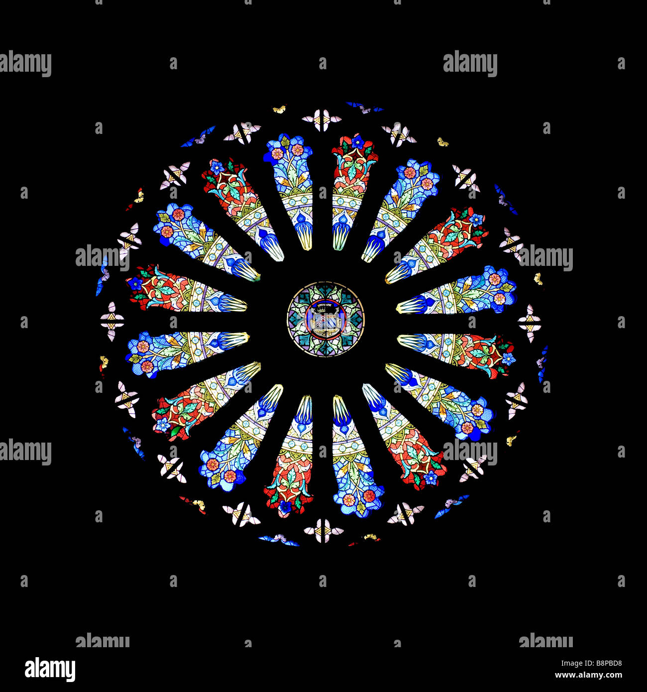 circular stained glass window in the Basilique Notre