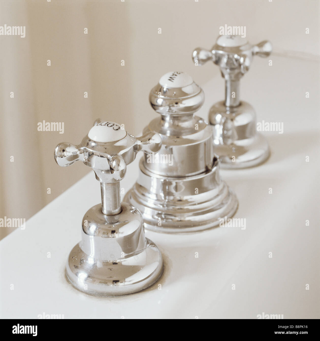 Stock Photo   Taps in the Ship Bathroom Lord Fairhaven was one of the first English country house owners to have chrome bathroom fittings. Taps In The Ship Bathroom Lord Fairhaven Was One Of The First