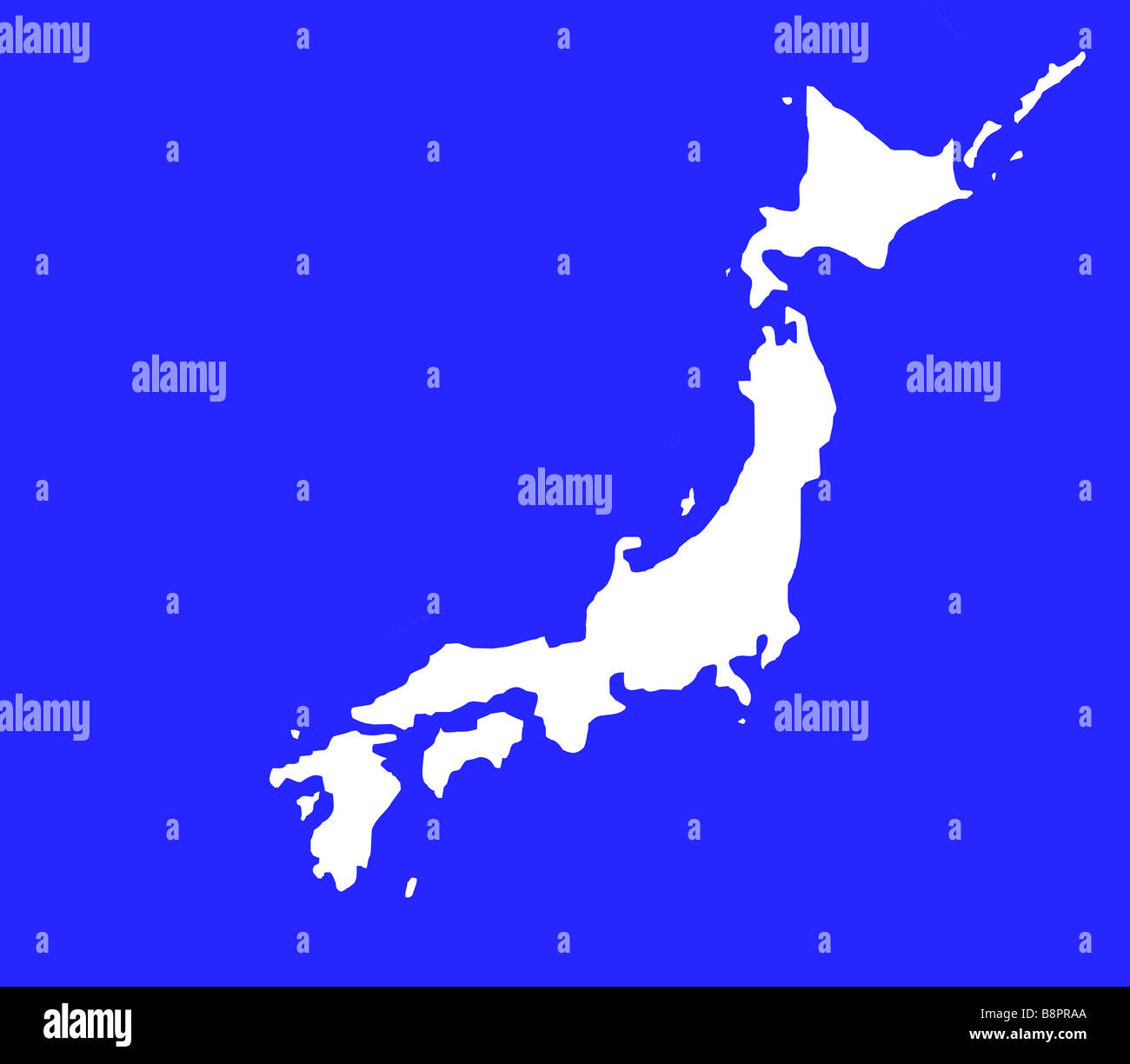 Island Of Japan Map Outline Isolated In White On Blue Background - Japan map outline