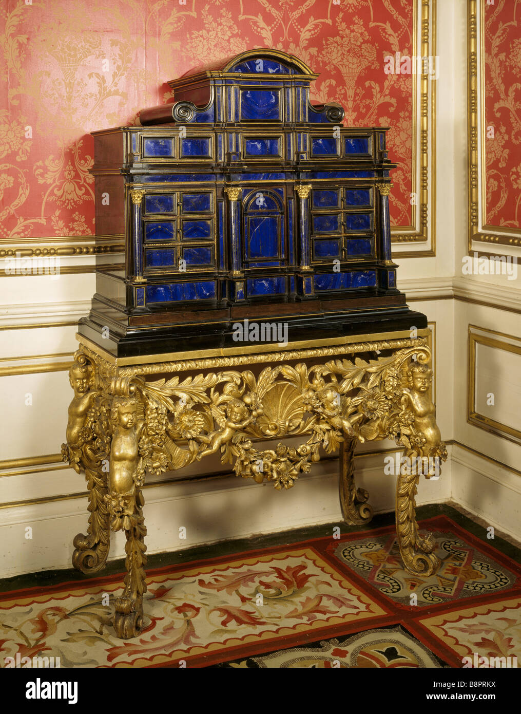 Lapis lazuli house - Late C17th Italian Lapis Lazuli Cabinet On A Charles Ii Giltwood Stand At Belton House