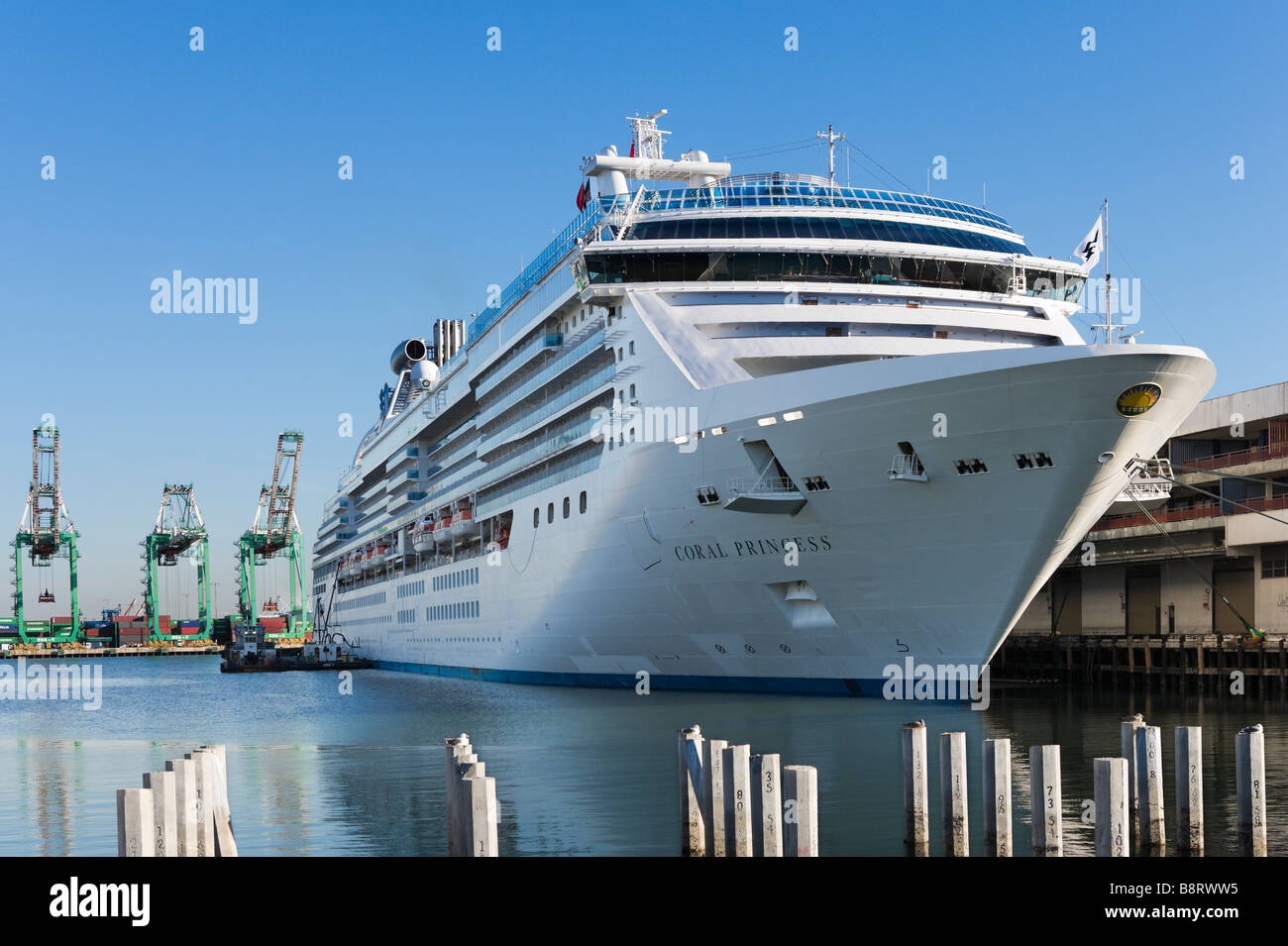 The Cruise Liner Coral Princess Docked At The Cruise Terminal In - San pedro harbor cruise ship schedule