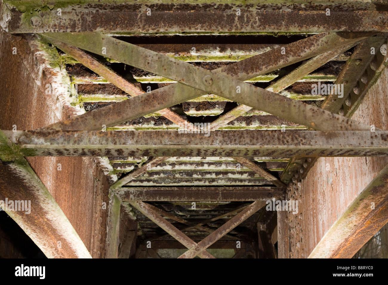 Latticed Rusted Metal Beams Forming Old Bridge Decking
