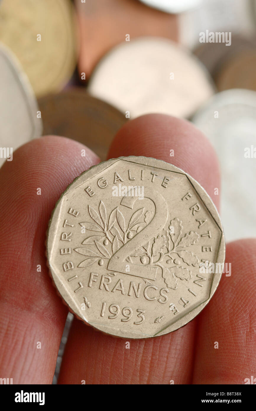 top french franc coin the former currency of france before they joined the euro stock with. Black Bedroom Furniture Sets. Home Design Ideas