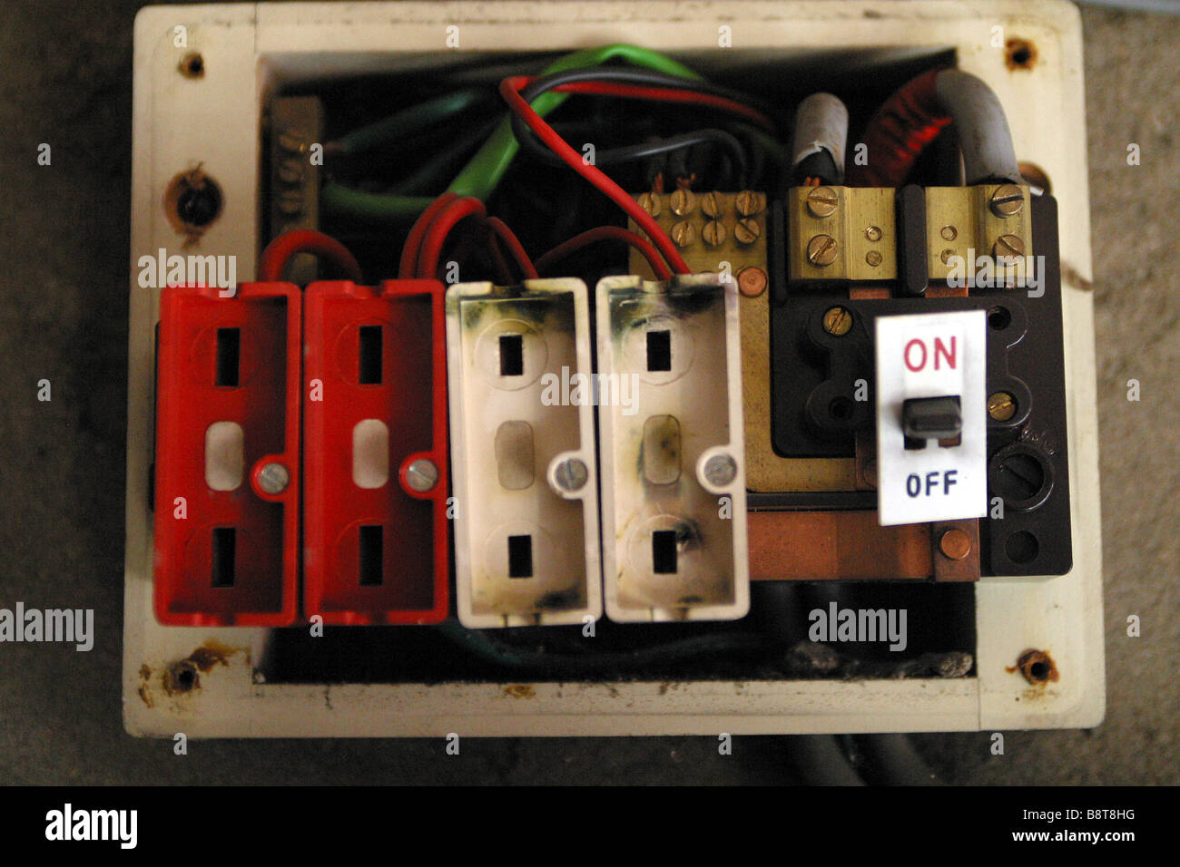 old style consumer unit electrical wire fuse box B8T8HG fuse fire stock photos & fuse fire stock images alamy old fuse box for home at crackthecode.co