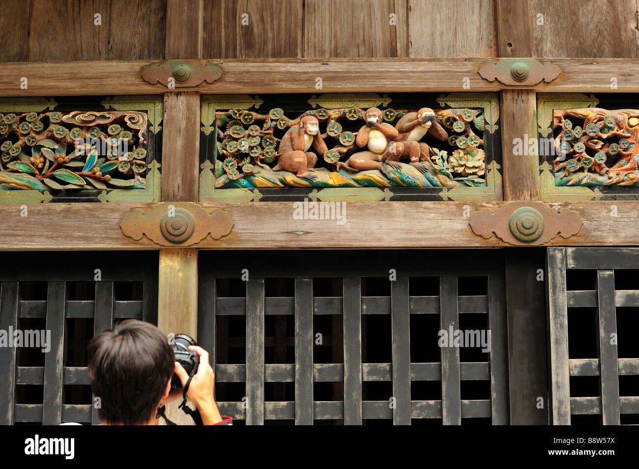Three wise monkeys wooden ornaments - Three Wise Monkeys Tosho Gu Nikko Tochigi Prefecture Japan Stock