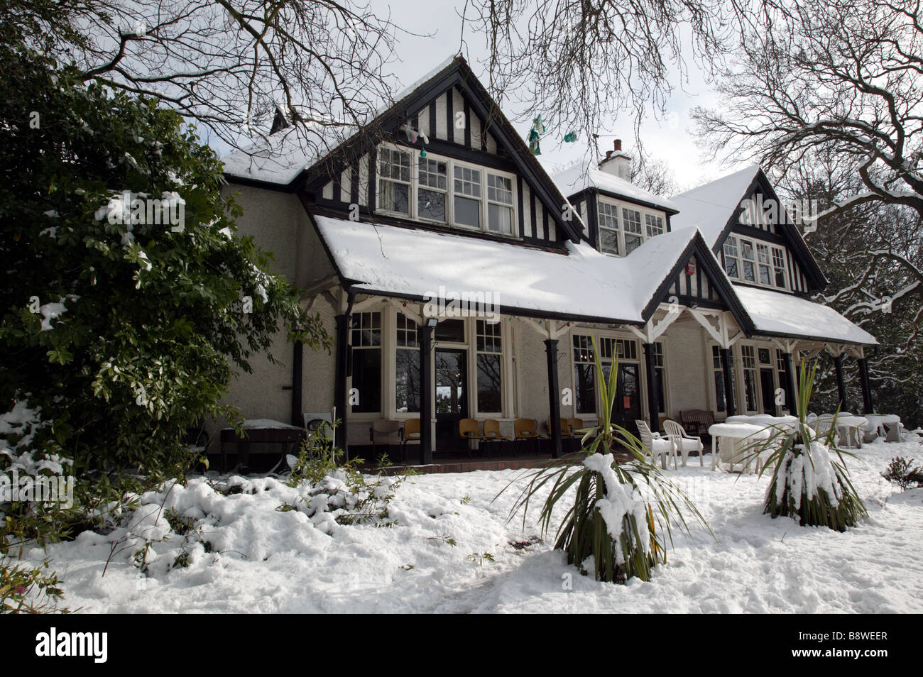 Shot Of The Snow Covered Foxgrove Club Which Faces Out Onto Beckenham Palce Park