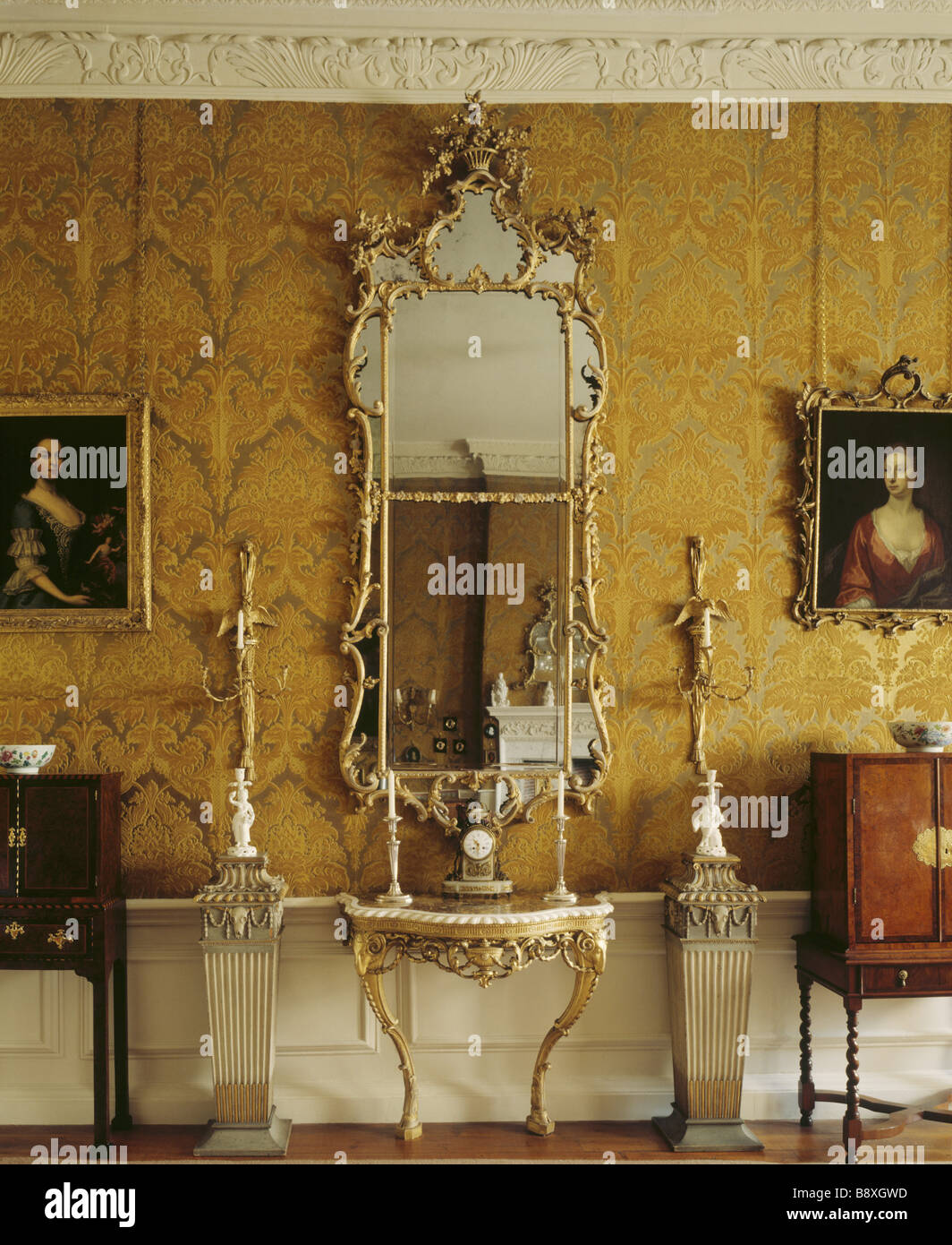 The Interior Of The Drawing Room With Its Gilt Mirror And Side Table And  18th Century Part 40