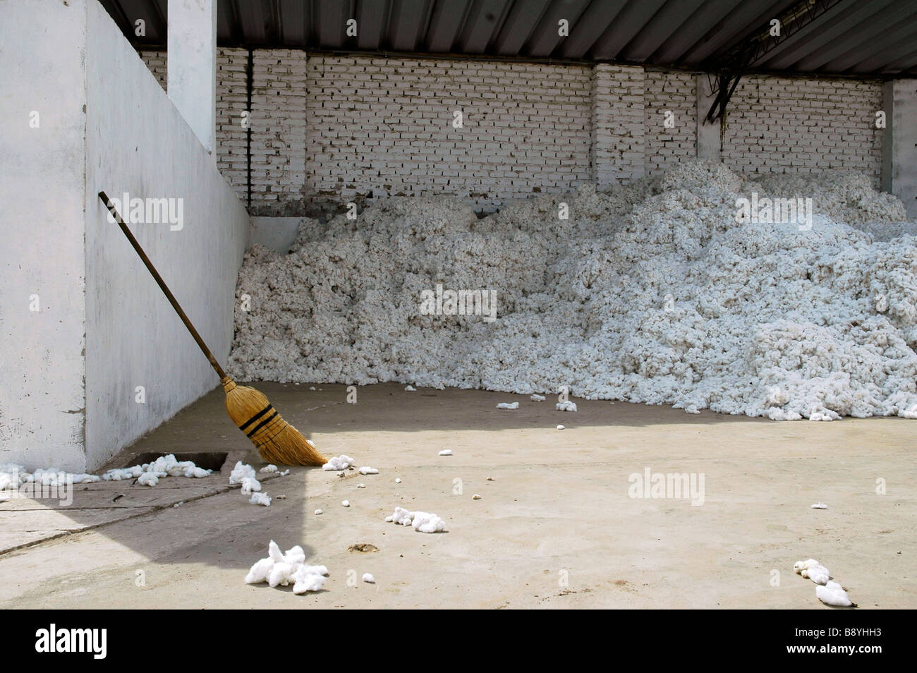 Broomstick leaning against white wall with large pile of raw ...