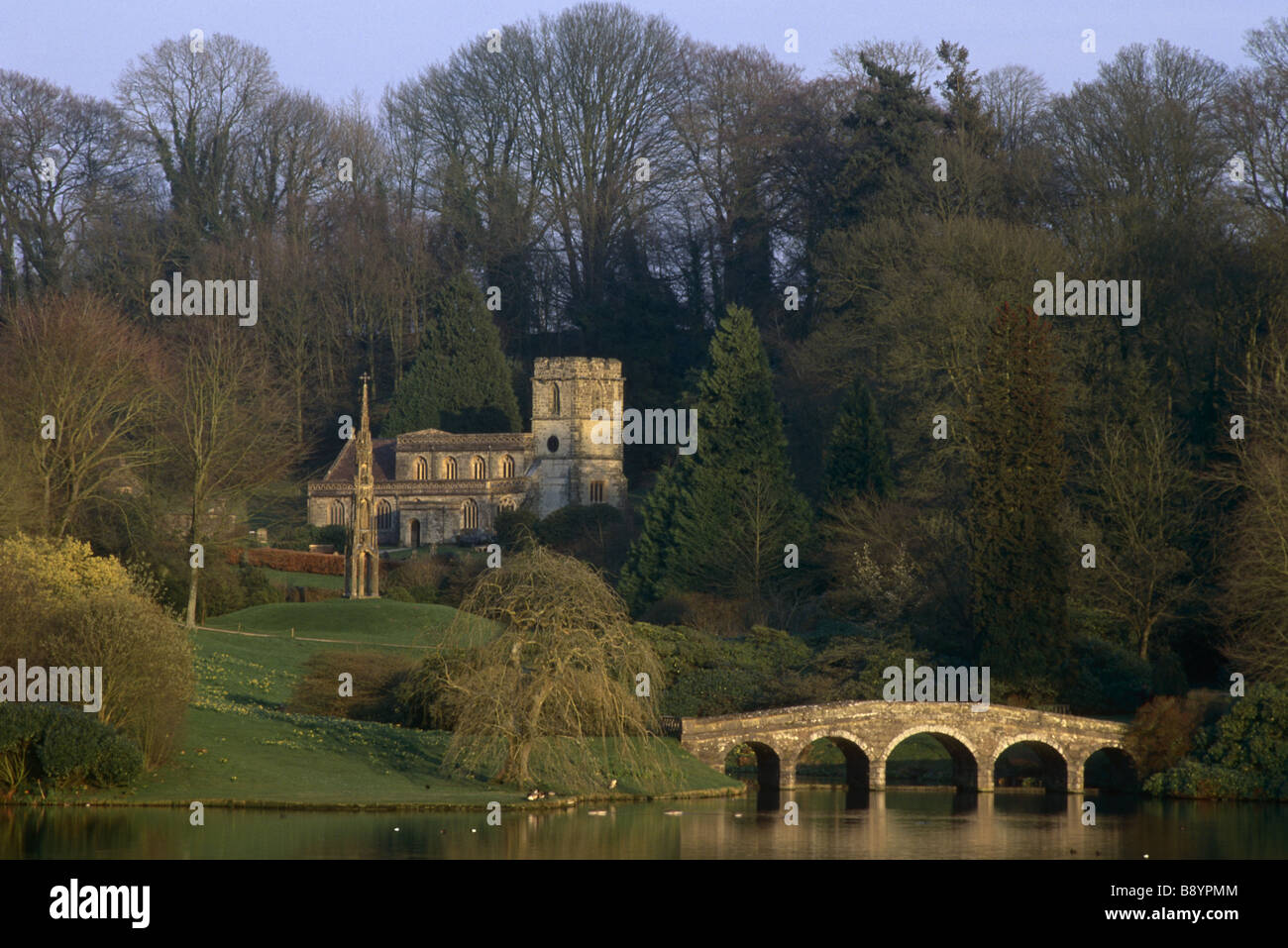 The Bristol High Cross St Peter S Church And The Palladian Bridge In Winter  At Stourhead