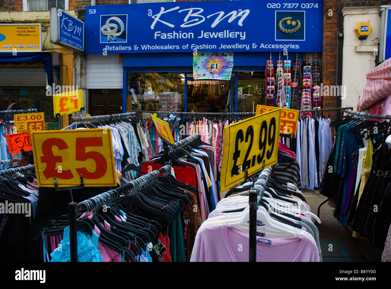 Cheap clothes at Petticoat Lane market in East London England UK ...