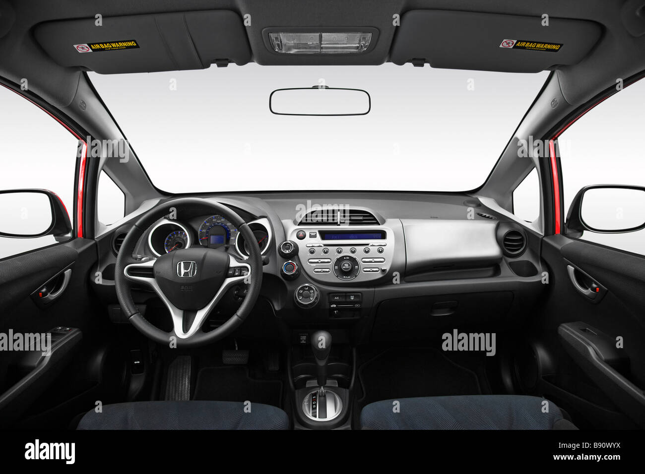 2009 honda fit sport in red dashboard center console gear shifter view