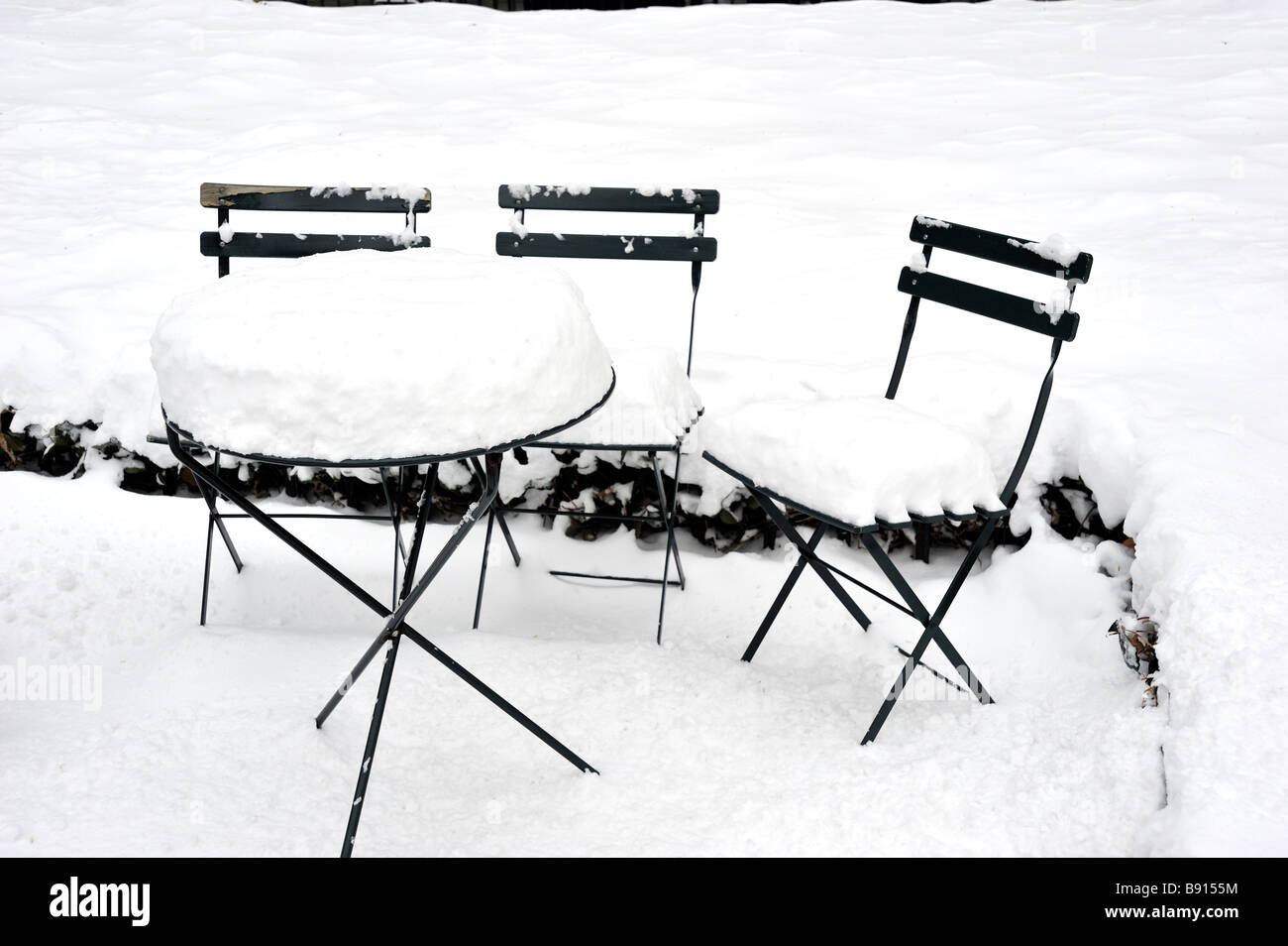 Garden Furniture Nyc garden furniture in the snow new york city winter stock photo