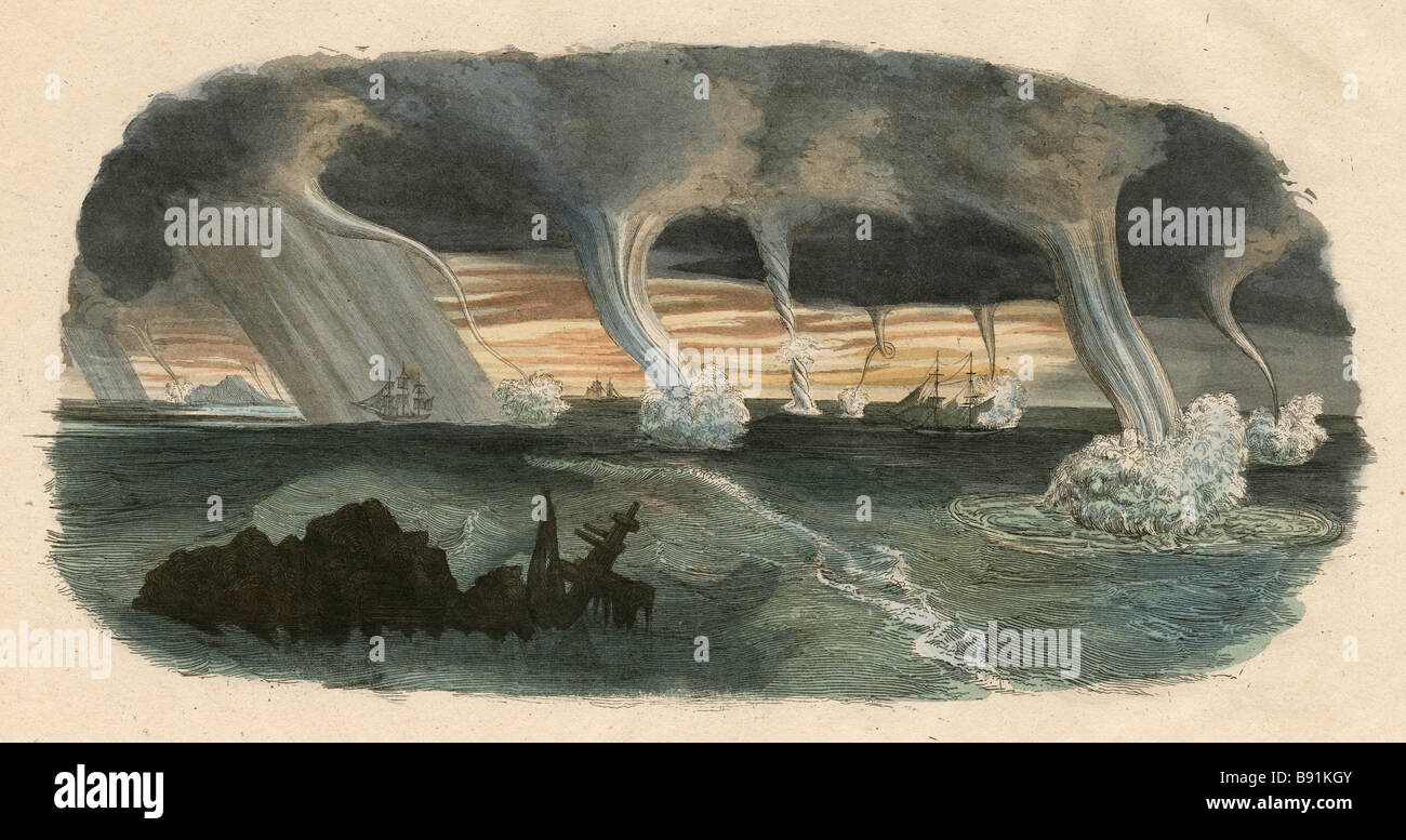 Whalers in action wood engraving published in 1855 stock illustration - 19th Century Hand Colored Engraving Showing Waterspouts Over The Ocean Stock Image