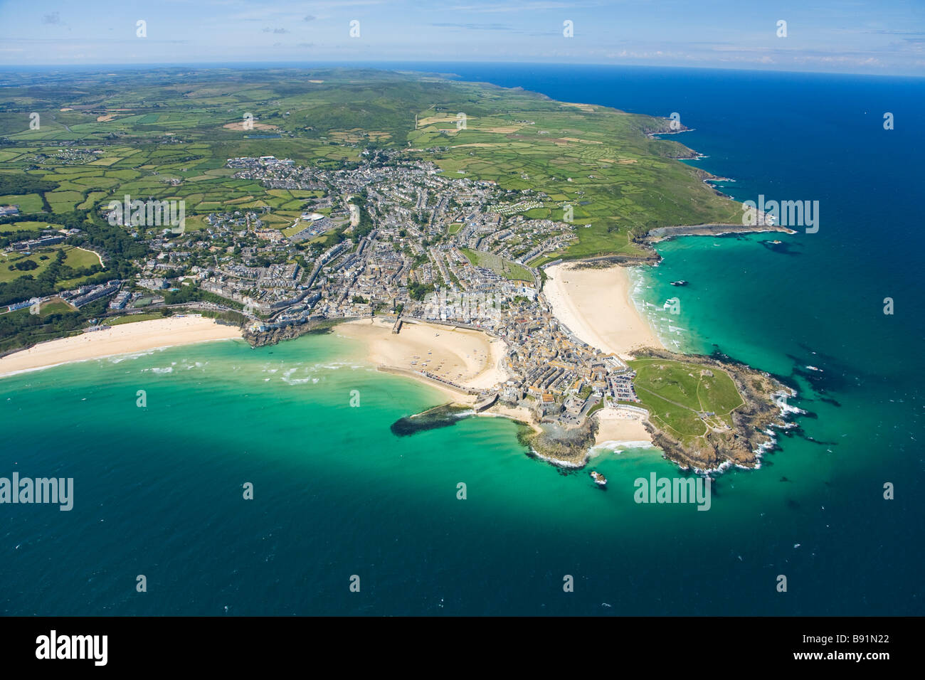Aerial View Of Coastline Of St Ives In Summer Sun Cornwall