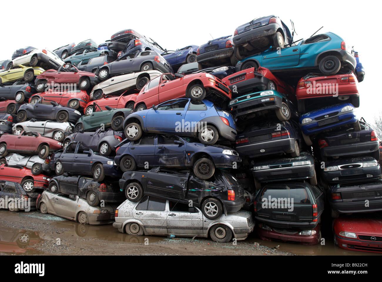 Scrap cars at a recycling centre, Opladen near Leverkusen, North ...