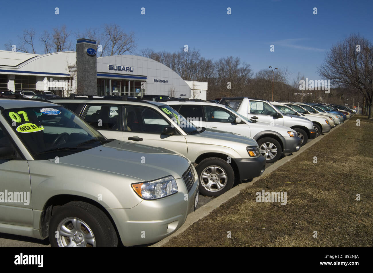 Unsold cars in Nissan lot during 2009 recession, Poughkeepsie, New ...