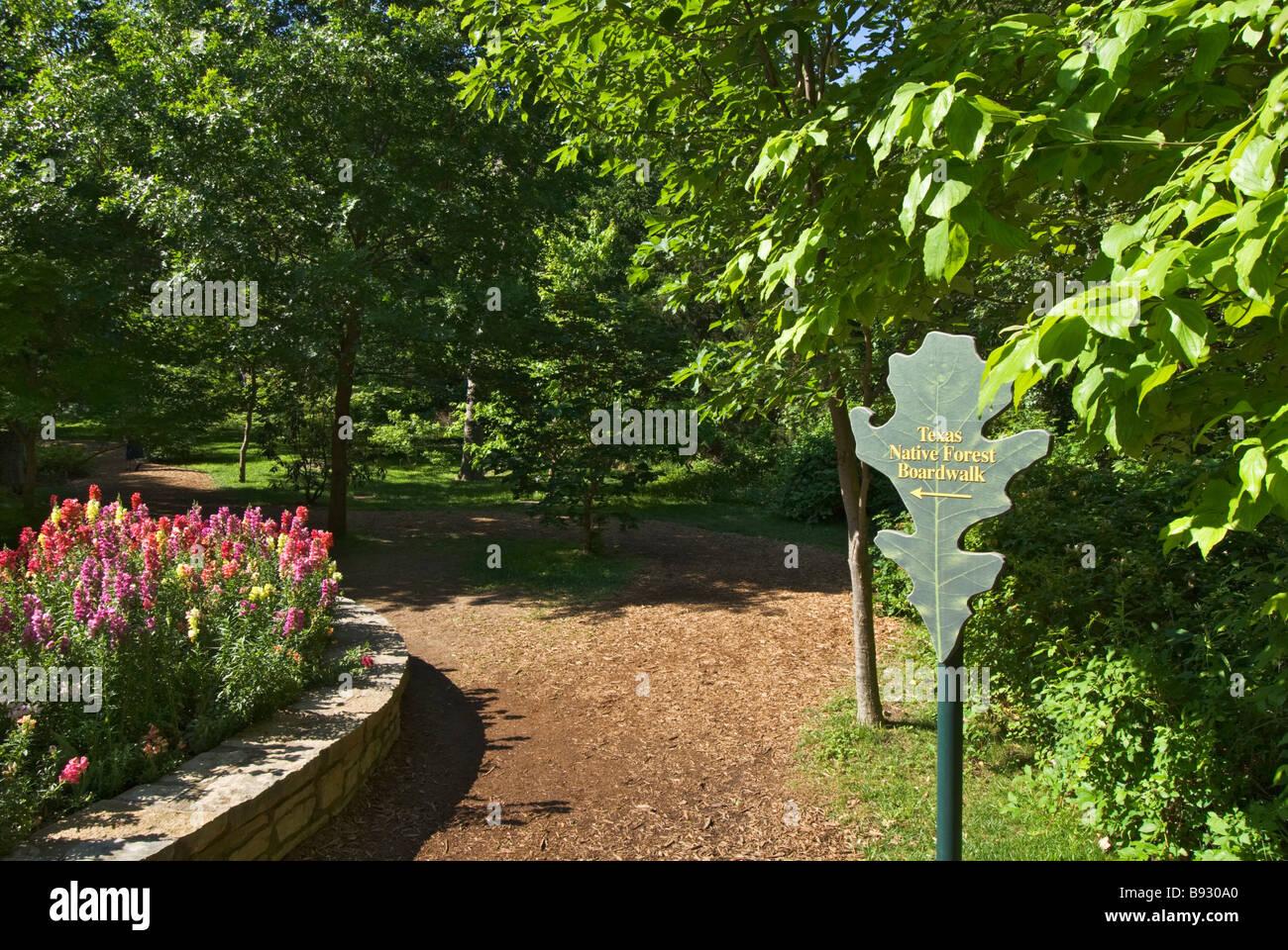 Texas Fort Worth Botanic Garden Native Forest Boardwalk Sign