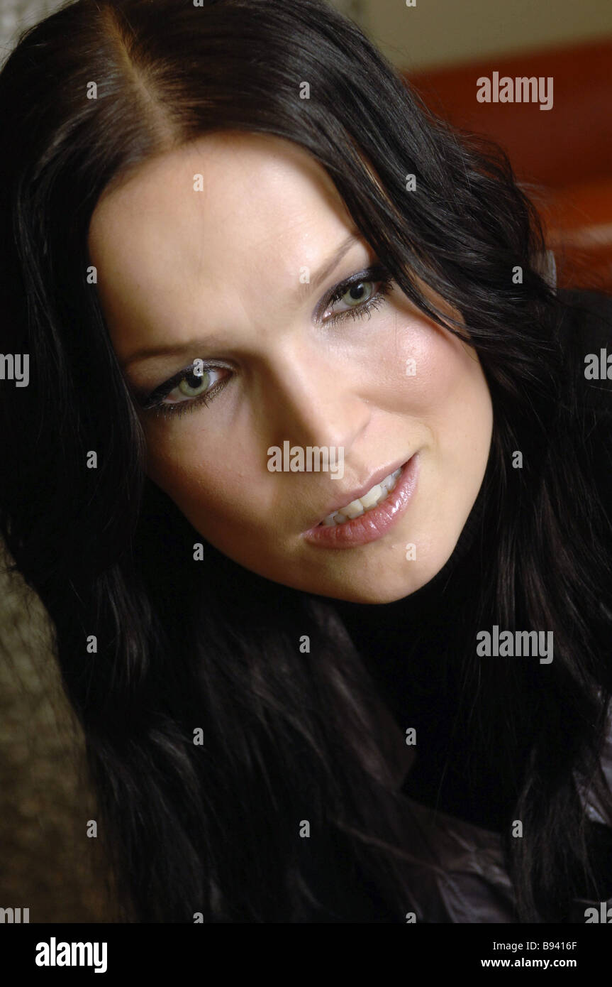 well known finnish pop singer tarja turunen during an interview in well known finnish pop singer tarja turunen during an interview in moscow where she has come