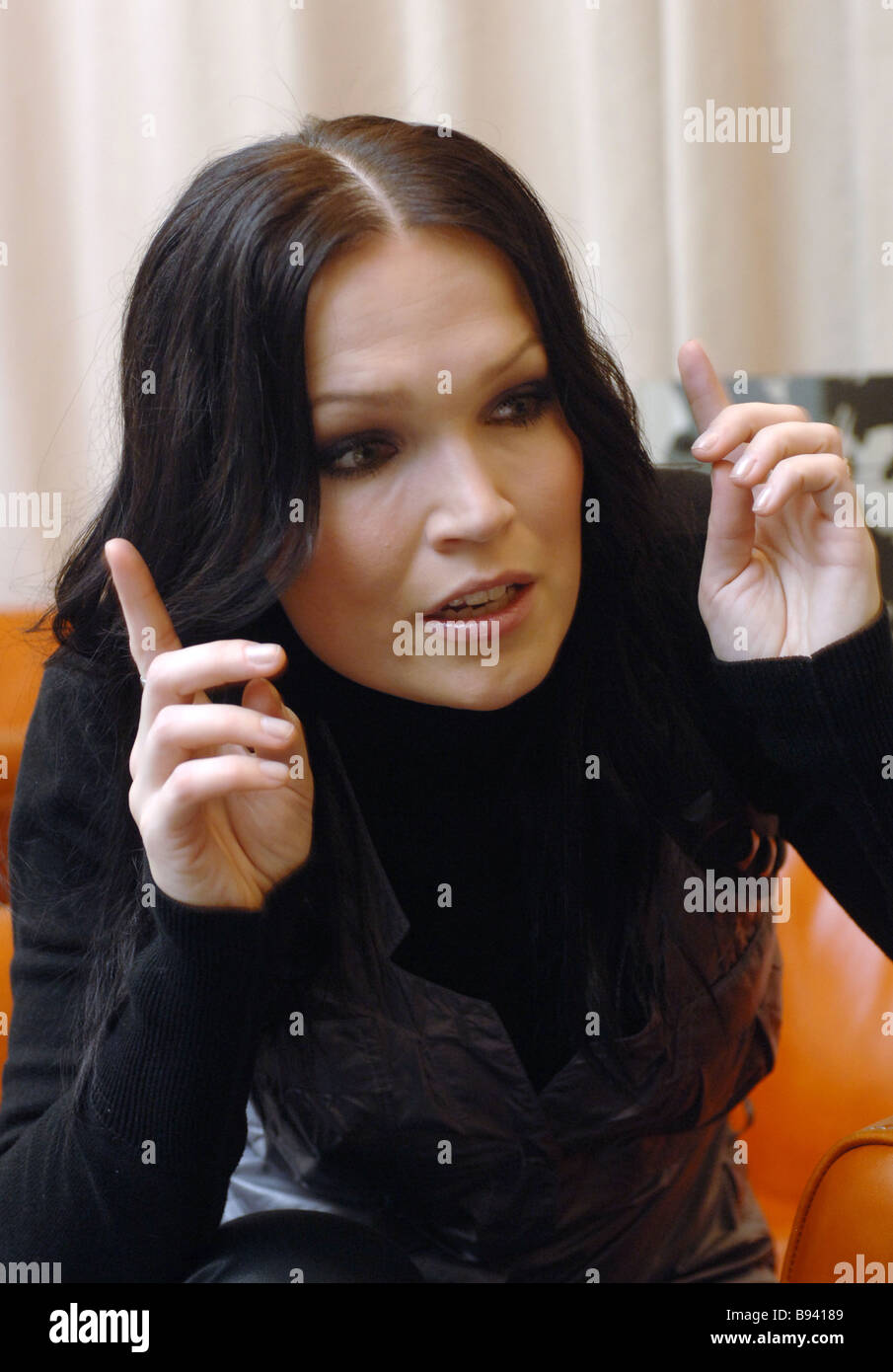 well known finnish pop singer tarja turunen during an interview in stock photo well known finnish pop singer tarja turunen during an interview in moscow where she has come for the presentation of her first