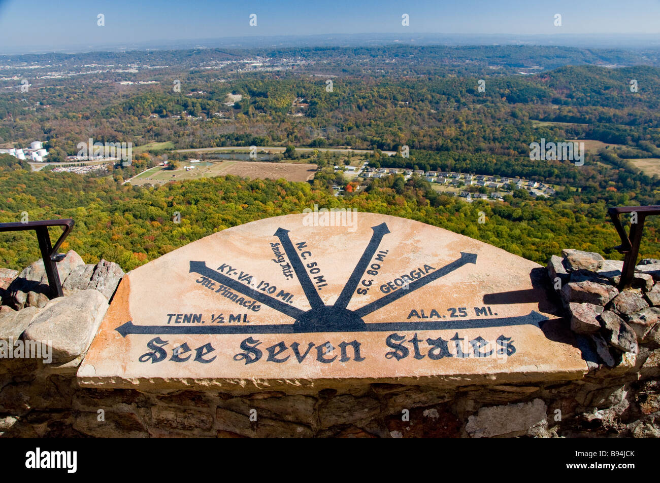 Sign at seven states plaza in rock city gardens on lookout sign at seven states plaza in rock city gardens on lookout mountain near chattanooga tennessee sciox Gallery