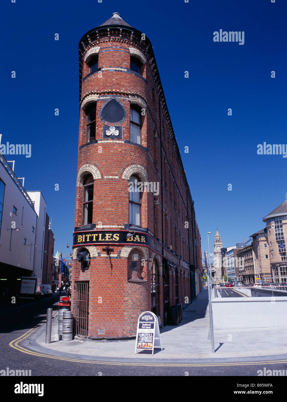 Northern Ireland, Belfast, Bittles Bar Brick Exterior Facade With A Board  Advertising Menu