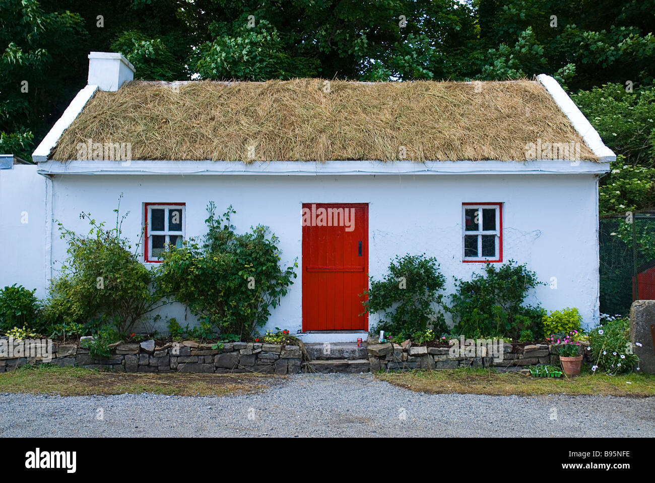 Ireland County Sligo Riverstown White Painted Cottage At Folk Park Thatched With Turf