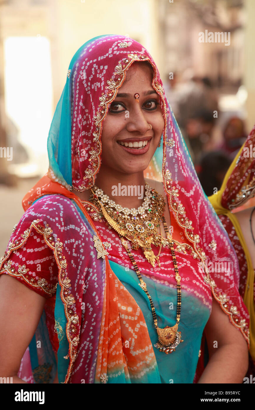 India Rajasthan Udaipur young rajasthani woman portrait ...