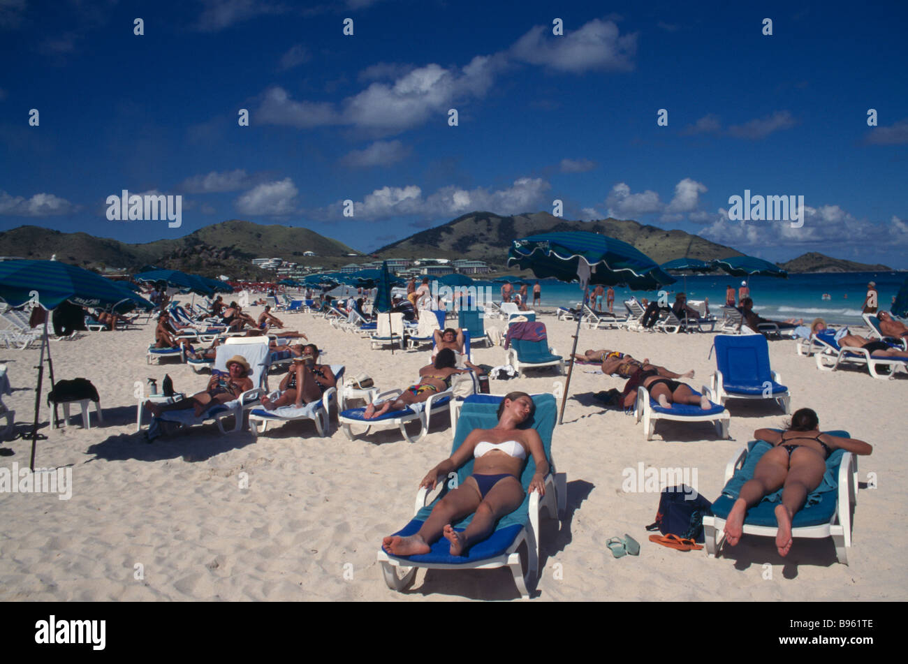 WEST INDIES French Antilles St Martin Orient Beach With People Sunbathing On Loungers