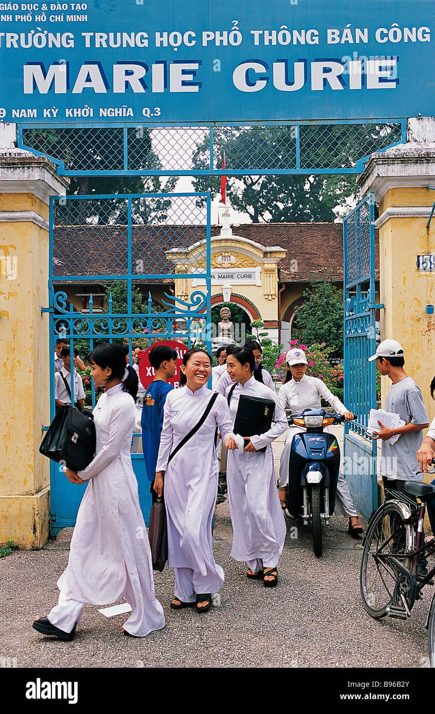 Vietnam, Saigon (Ho Chi Minh City), students coming out Marie ...