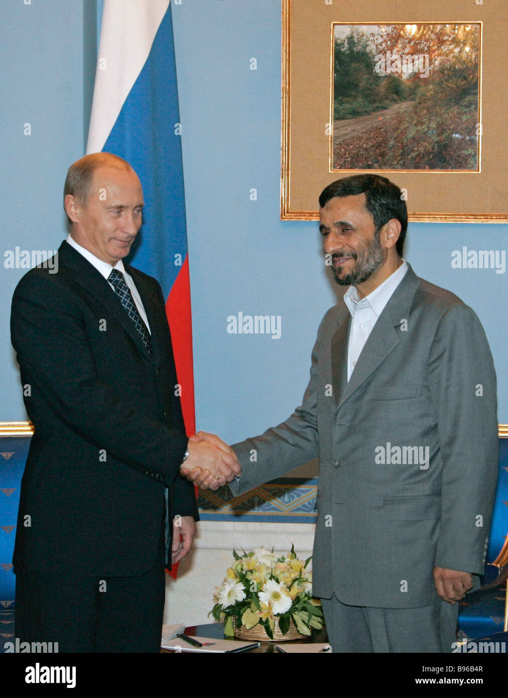 From left to right russian president vladimir putin and iranian from left to right russian president vladimir putin and iranian president mahmoud ahmadinejad at a meeting in the sadabad kristyandbryce Images