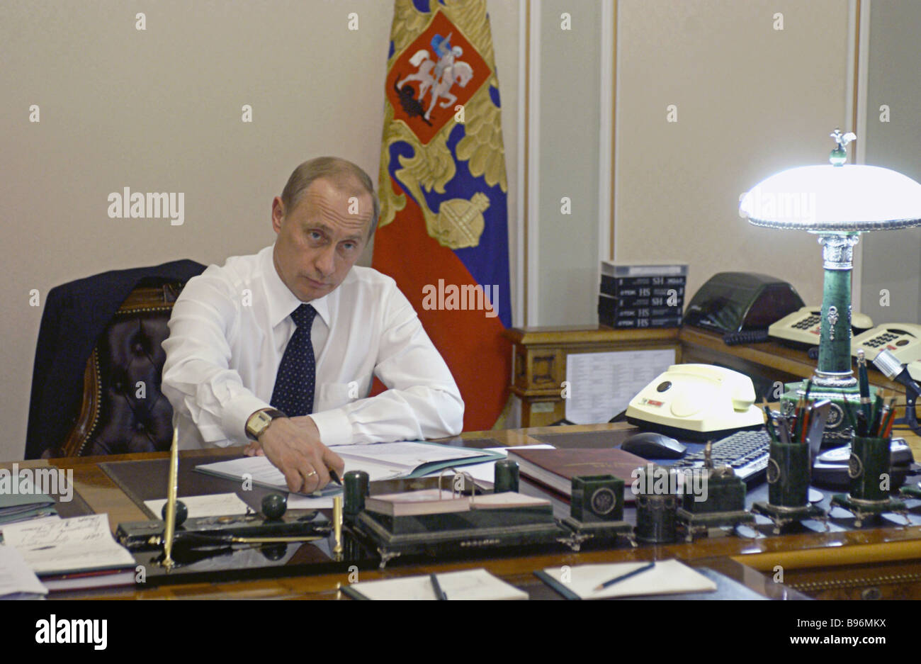 Russian President Vladimir Putin At His Office In Novo Ogaryovo Stock Photo Alamy