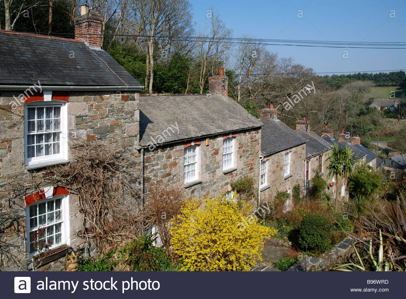 Old Cornish Tin Miners Cottages At St Agnes Cornwall Uk