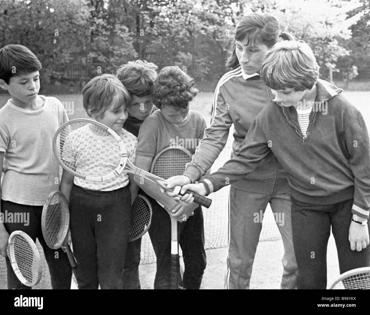 Soviet tennis player Olga Morozova second right with the pupils of