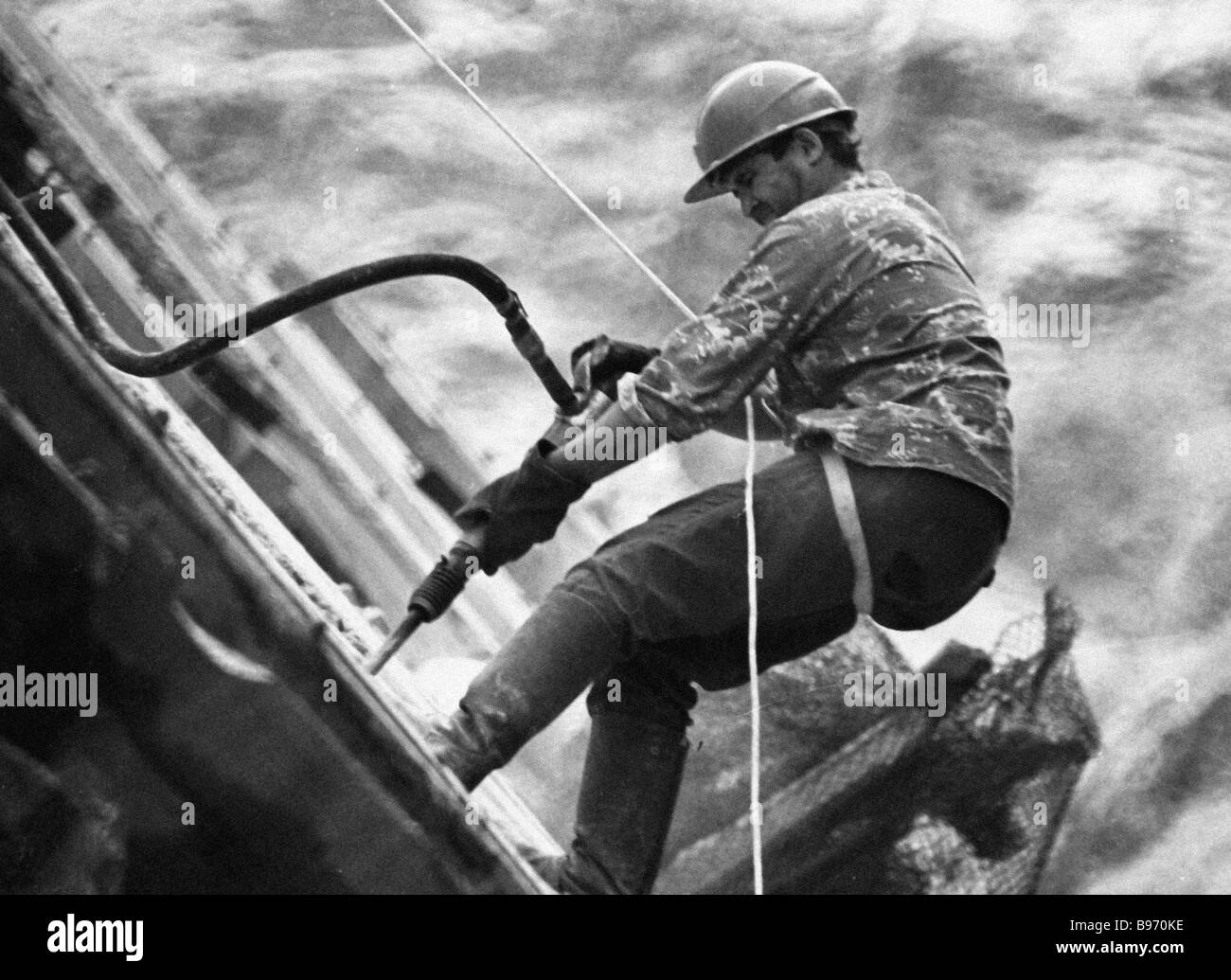 A Concreter Works At The Construction Of Toktogulskaya Hydropower ...